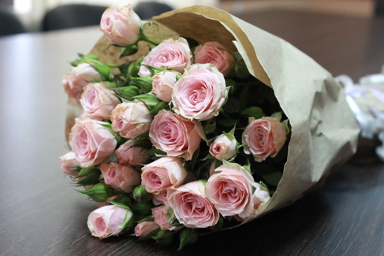 A bouquet of flowers as wedding gift